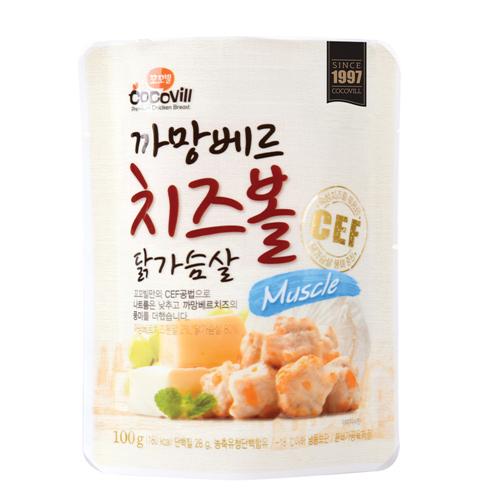 [무료배송] [꼬꼬빌] 까망베르 치즈볼 닭가슴살 머슬100g 10팩