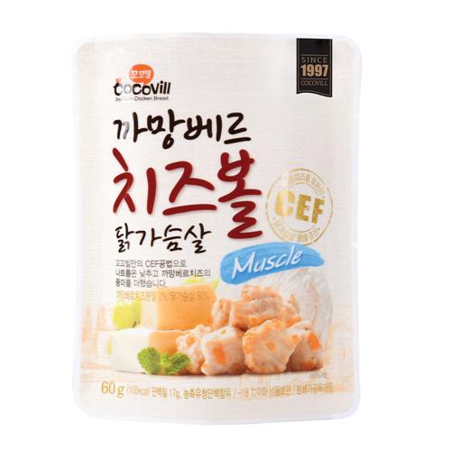 [무료배송] [꼬꼬빌] 까망베르 치즈볼 닭가슴살 머슬60g 10팩