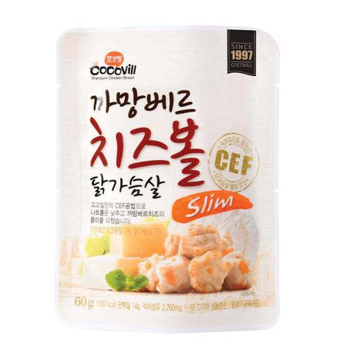 [무료배송] [꼬꼬빌] 까망베르 치즈볼 닭가슴살 슬림60g 10팩