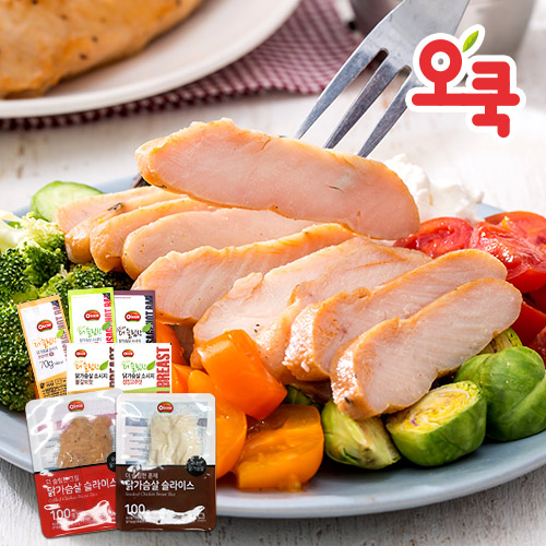 [무료배송] [오쿡] 그릴&훈제 닭가슴살 슬라이스 (100g x 18팩)